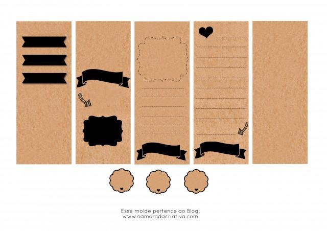 Molde Cartão dia dos Namorados Preto em branco