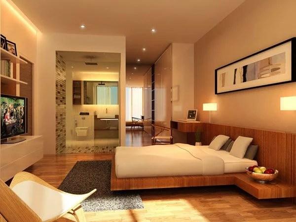 miegamasis ir vonios kambariai atviroje erdvėje