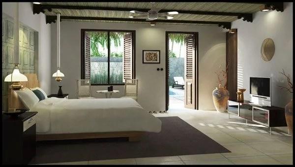 miegamojo dizainas su medžio sijomis