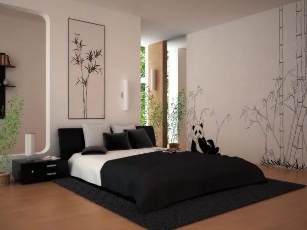 miegamojo dizainas su pandos piešiniu ant sienos