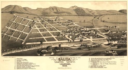 Map of Salida, Colorado, from 1882