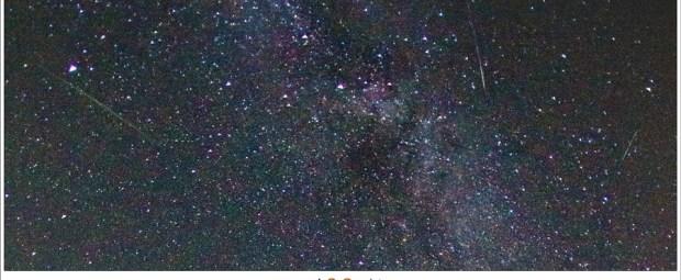 Uitsnede uit de vorige foto van de vallende sterren