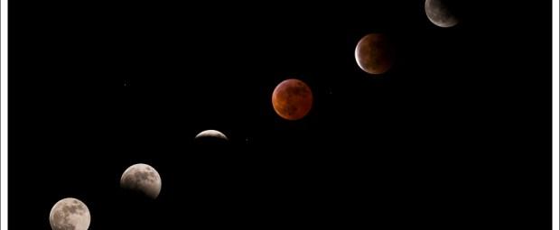 Maansverduistering collage uit 2007. Alle foto's hebben dezelfde witbalans maar verschillende belichtingstijden.