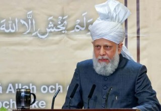 The Fifth Khalifa (Caliph), His Holiness, Hazrat Mirza Masroor Ahmad delivers the keynote address at inauguration of the Mahmood Mosque  Photo: mta.tv