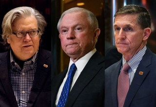Troubling appointments: Steve Bannon, Jeff Sessions, Michael Flynn. Photo: nymag.com