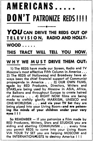 Let's NOT repeat the darkest days of McCarthyist broadcasting!