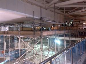 Scaffodling inside Water Flume Centre, Skegess