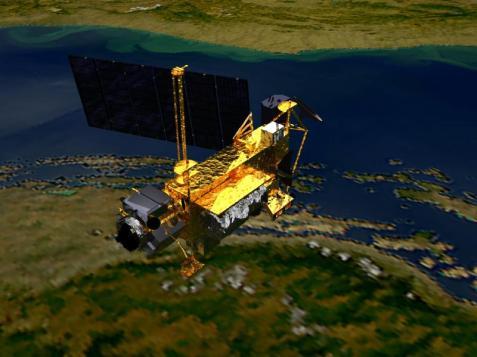 NASA foto på satelliten UARS till omloppsbana 15/9, 1991, med Rymdskytteln