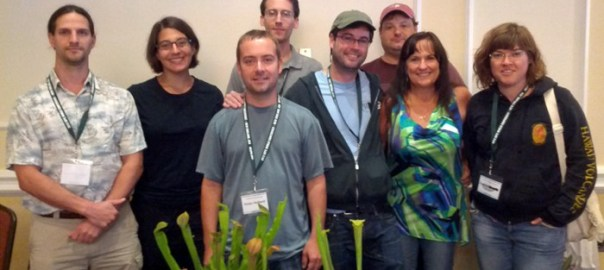 The NASC Board and members, from left to right: David Schloat, Emily Troiano (president), Victor Holland (administrator of plant materials), Ryan Kitko (vice president), Matt Kaelin (member-at-large), Mark Todd (director of conservation), Sheila Stewart (treasurer), and Zuzana Srostlik. At the International Carnivorous Plant Society Conference held in Seekonk, Massachusetts in August 2012.