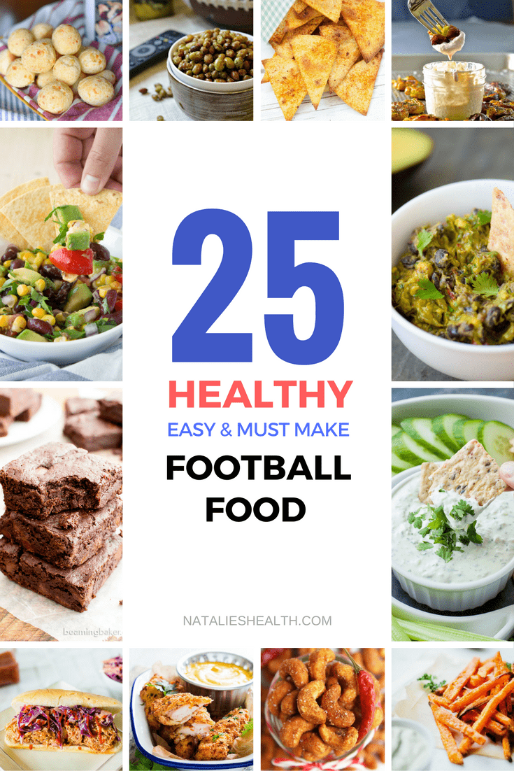 A roundup of 25 healthy football food recipes. A must-make recipes for super bowl game day. CLICK to grab RECIPES or PIN for later!