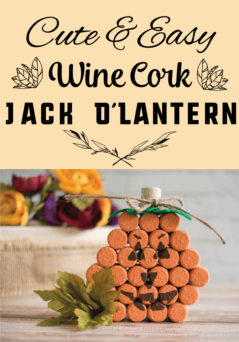 Cute and Easy Wine Cork Jack O'Lantern tutorial