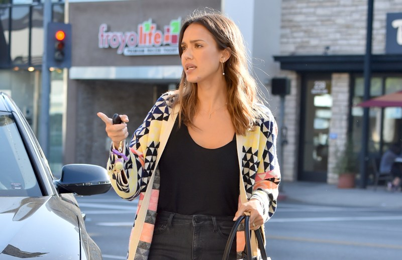 Jessica Alba wears high waisted pants as she heads to celebrate her birthday with her family in Beverly Hills.   Pictured: Jessica Alba Ref: SPL1273574  010516   Picture by: Fern / Splash News  Splash News and Pictures Los Angeles:	310-821-2666 New York:	212-619-2666 London:	870-934-2666 photodesk@splashnews.com