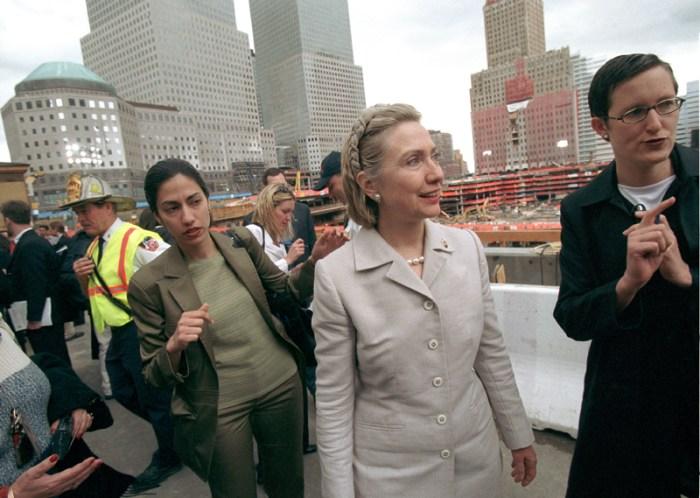 US Senator Hillary Rodham Clinton with aide Huma Abedin