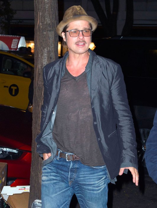 Brad Pitt arrives at a screening for 'Fury' in NYC
