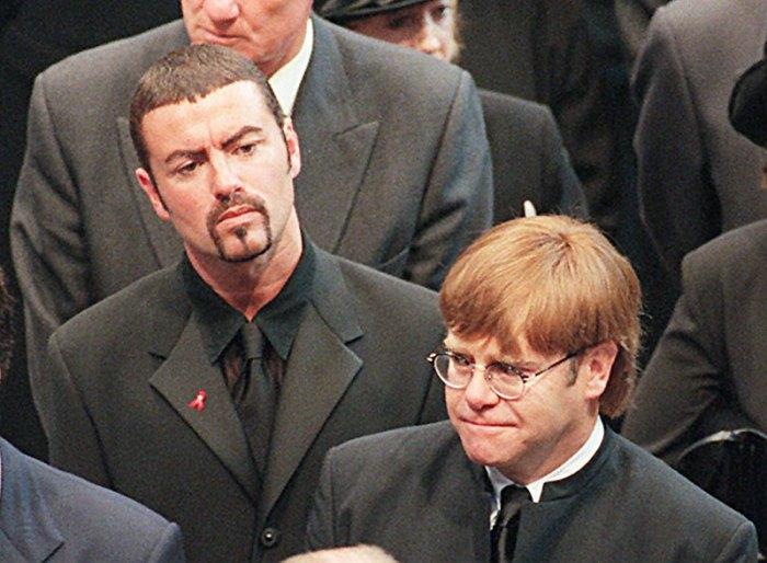 Pop stars George Michael (top) and Elton