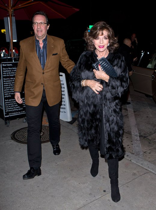 Joan Collins and her longtime partner were seen arriving for dinner at 'Craigs' Restaurant in West Hollywood, CA