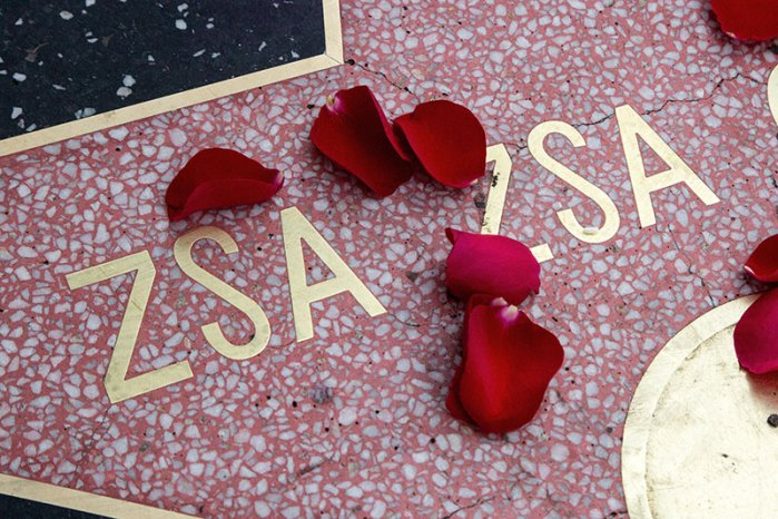 Flowers Placed On The Hollywood Walk Of Fame Star Of Zsa Zsa Gabor