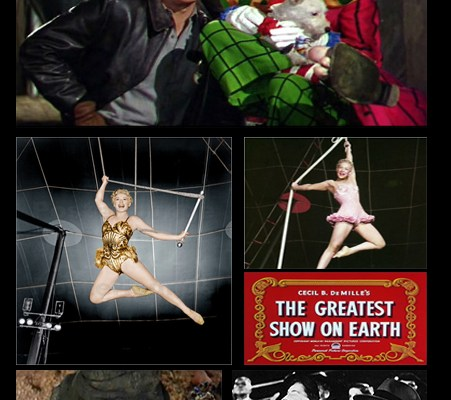 """Ringmaster CHARLTON HESTON & JIMMY STEWART (clown), BETTY HUTTON (trapeze), GLORIA GRAHAME (elephant trainer),  BOB HOPE & BING CROSBY (audience) from CECIL B. DeMILLE's """"The Greatest Show on Earth"""" (1952)"""