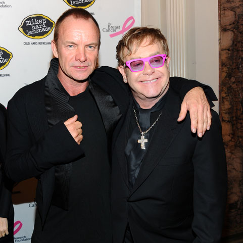 Sting and Elton John bring star power to the 2011 Breast Cancer Research Foundation's Hot Pink Party in New York City on April 14.