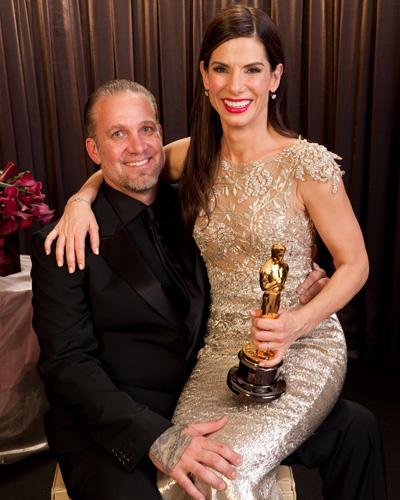 Best Actress Sandra Bullock backstage with husband Jesse James