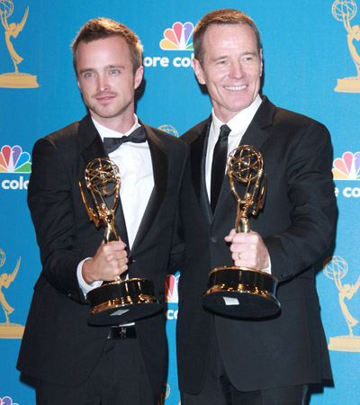 Aaron Paul and Bryan Cranston, Best Supporting Actor and Best Lead Actor in a Drama
