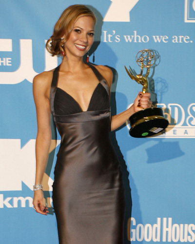 Tamara Braun shows off her Emmy for Outstanding Supporting Actress