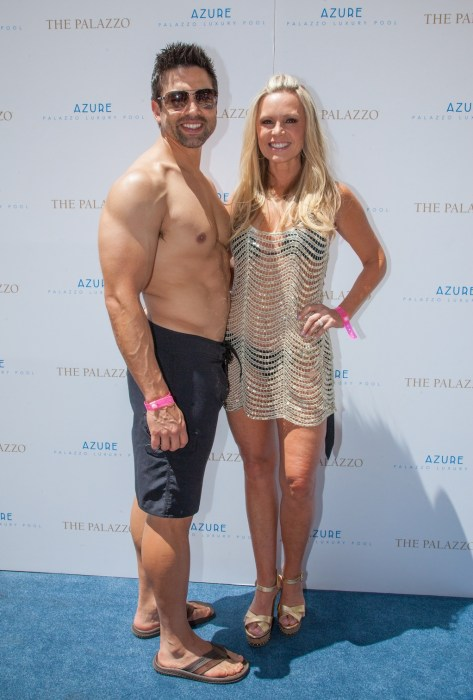 Real Housewife Tamra Barney and fiance Eddie Judge bachelorette party weekend at Azure Luxury Pool at The Palazzo Las Vegas.