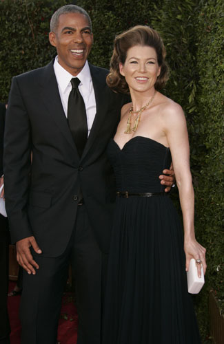 Ellen Pompeo and her fiance at the 59th Annual Primetime Emmy Awards.