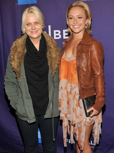 Amy Poehler and Hayden Panettiere at a screening of <i>Hoodwinked Too</i>.