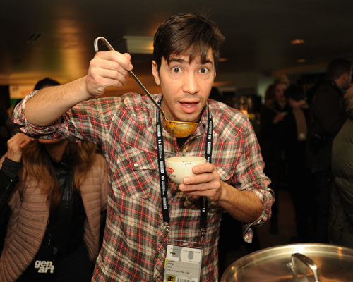 "Justin Long showed some love to the ""Ladles of Love"" program benefiting Feeding America at the Bertolli Meal Soup Chalet in the Gen Art Lounge."