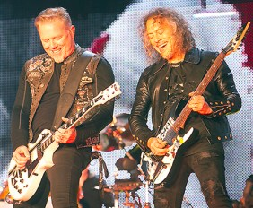 """James Hetfield and Lars Ulrich of Metallica preform at """"The Night Before"""" pre–Super Bowl concert at San Francisco's AT&T Park."""