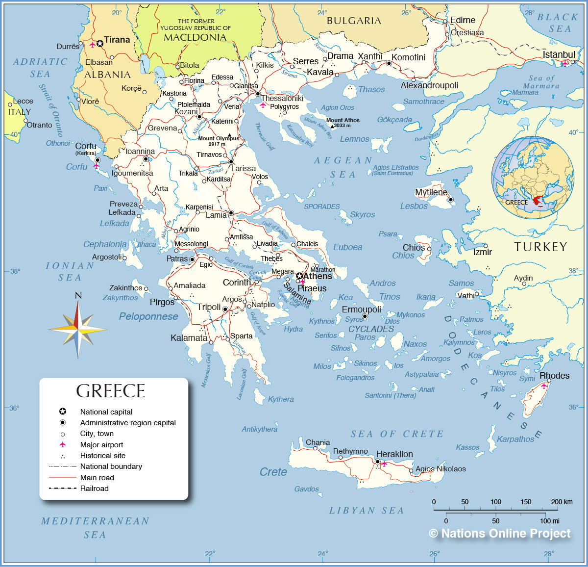 map with greece