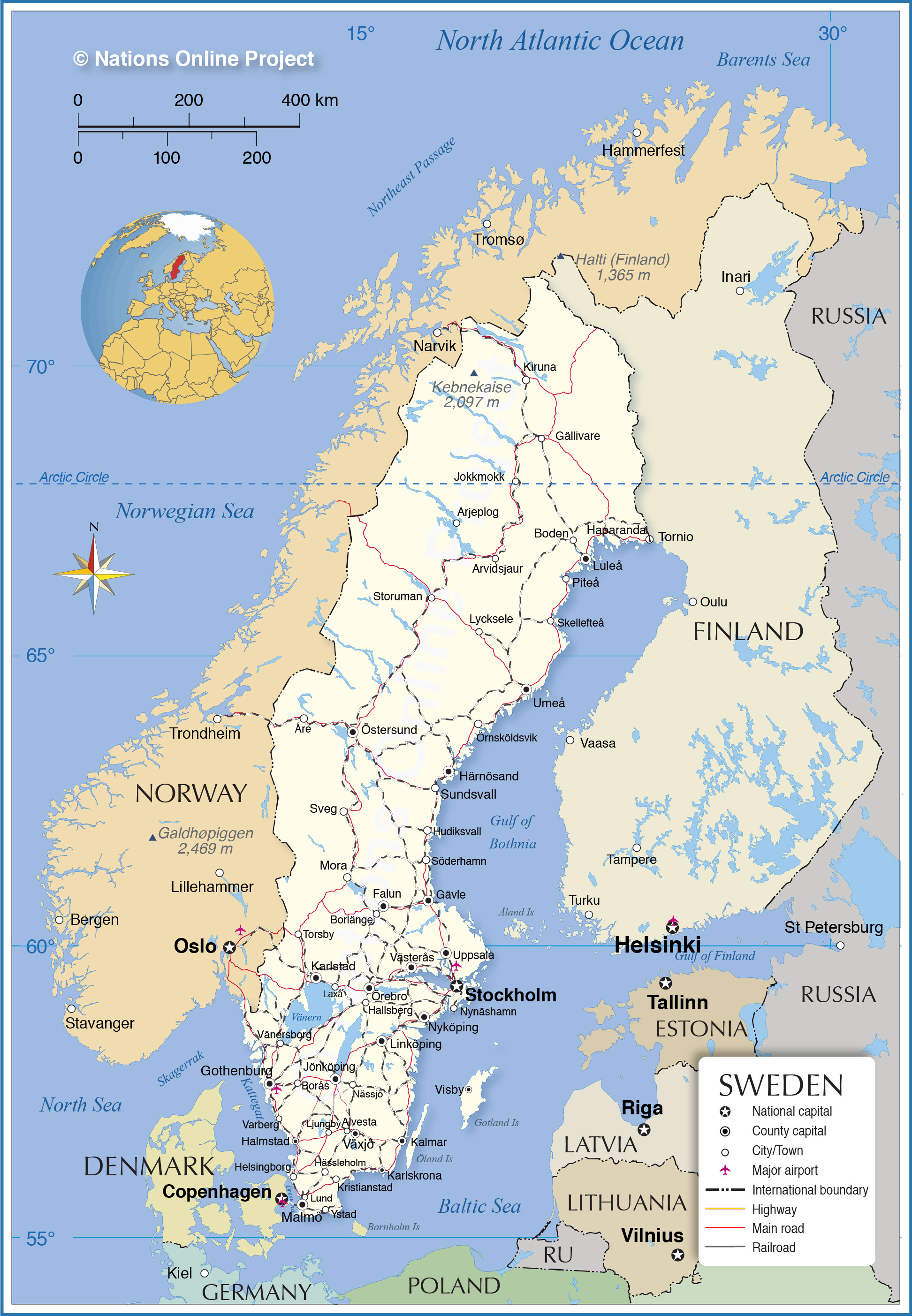 map with sweden