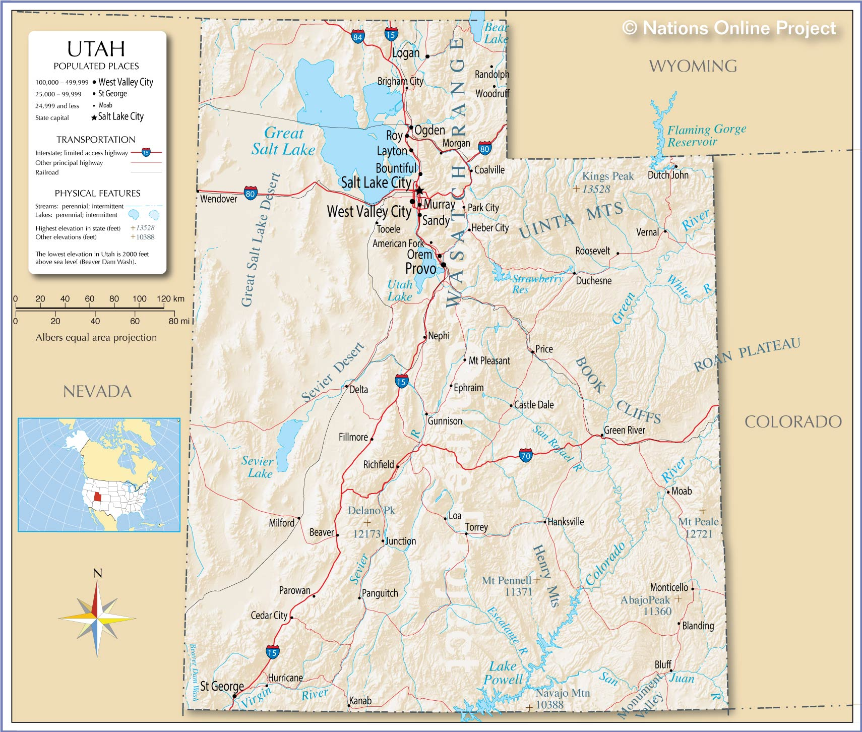 Reference Map of Utah, USA - Nations Online Project