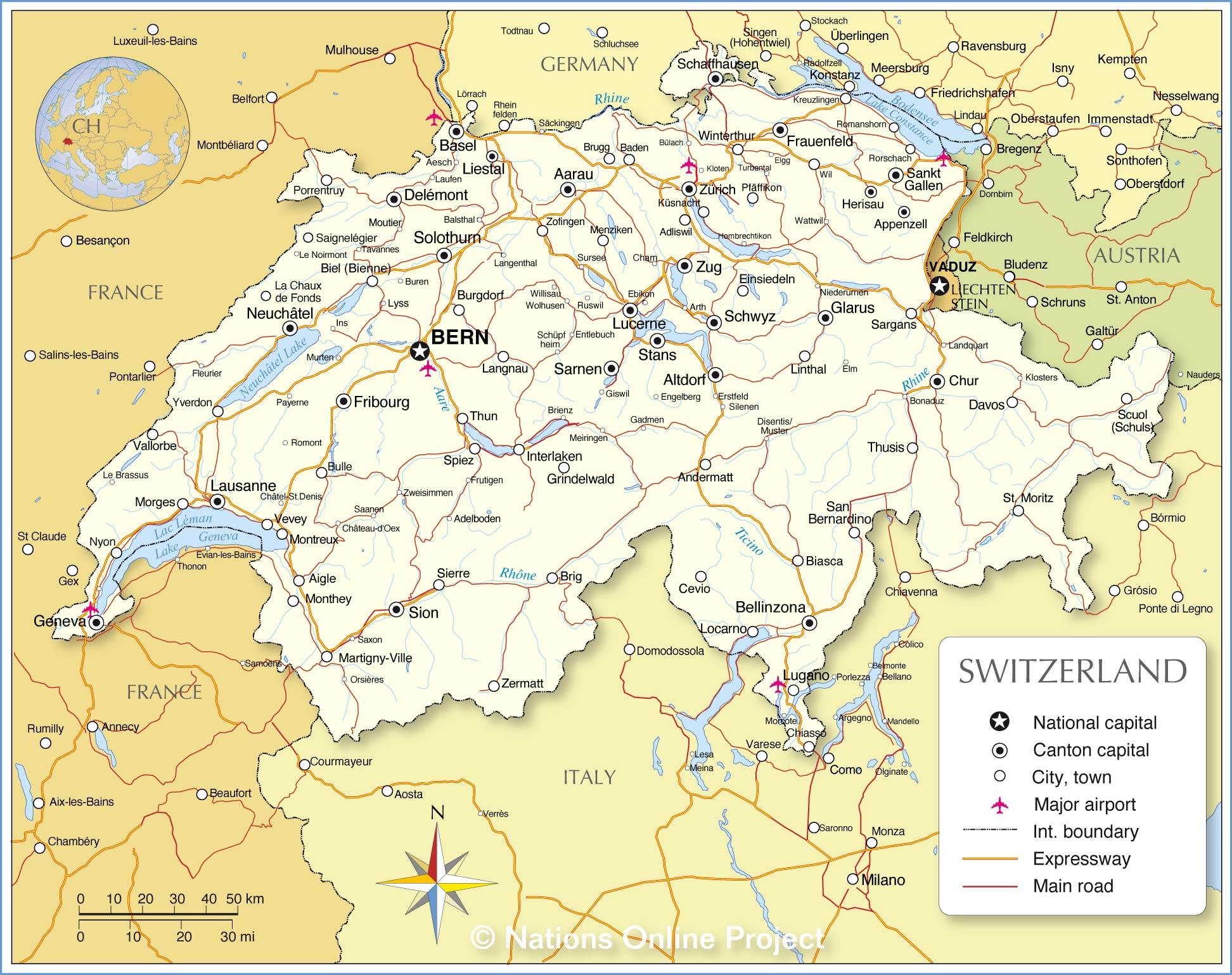 map with switzerland