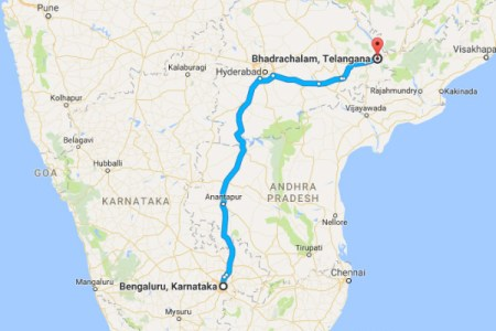 a route map from bengaluru to bhadrachalam nativeplanet