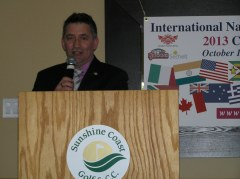 MLA Nicholas speaks with guests at 2013 4th annual Kick-Off luncheon