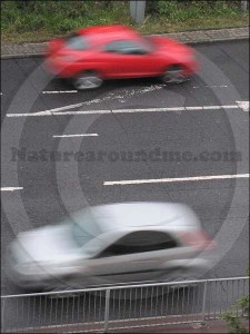 Cars on a fast road