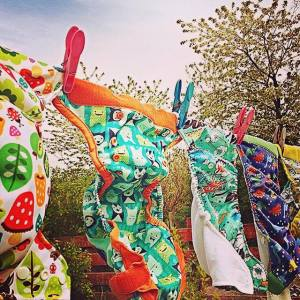 cloth nappies on a washing line