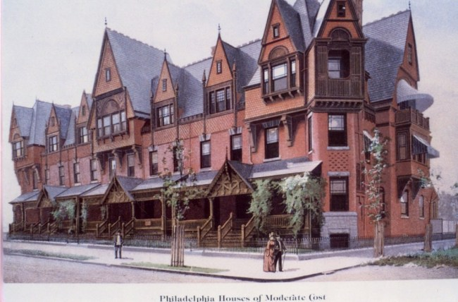 1891 ad for houses on the 4200 block of Spruce Street (Scientific American Builders/Philadelphia Real Estate Blog)