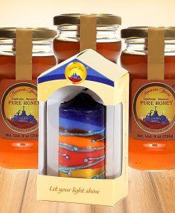 3 Nazareth Honey with Pillar candle