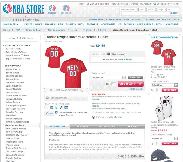 Camiseta de Dwight Howard con los New Jersey Nets
