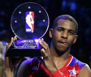 NBA All-Star Chris Paul of the Los Angeles Clippers holds up the MVP trophy after the 2013 NBA All-Star basketball game in Houston