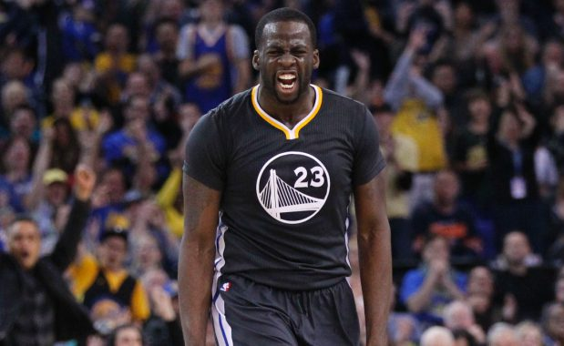 Jan 31, 2015; Oakland, CA, USA; Golden State Warriors forward Draymond Green (23) reacts after making a three point basket against the Phoenix Suns in the second quarter at Oracle Arena. Mandatory Credit: Cary Edmondson-USA TODAY Sports