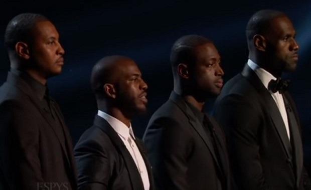 Carmelo Anthony, Chris Paul, Dwyane Wade y LeBron James