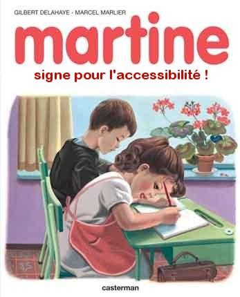 Pastiche de la BD Martine - A son bureau Martine signe pour l'accessibilité