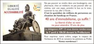 invitation à la manifestation pour l'accessibilité qui se tiendra à Marseille le 7 avril 2014