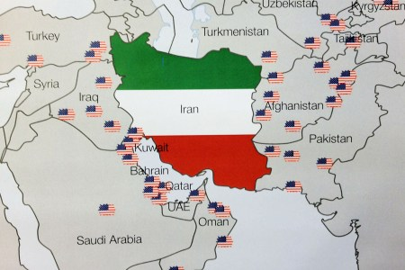 iran map middle east aggressive usa military bases surrounding obselete warmongerism