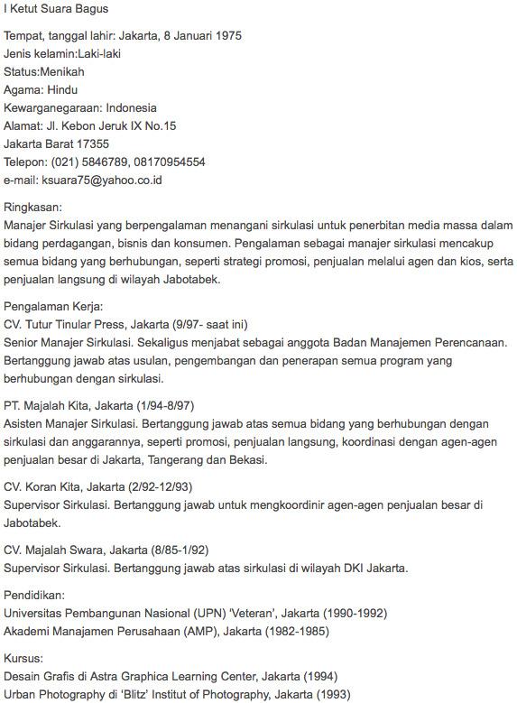 teks referensi biodata tentang diri sendiri berbahasa inggris
