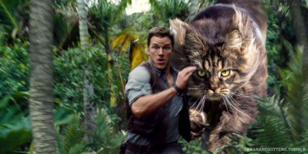 【猫画像】何だかジワジワくるかもWW ジュラシックパークの恐竜が猫だったら・・・!?